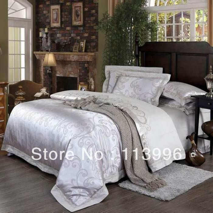 King Or Queen Bedding Set Silver White Jacquard Satin Silk Comforter Set 100 Cotton Adult Doona