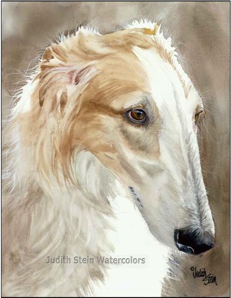 Borzoi, Russian Wolfhound, Fawn, White AKC Hound, Pet Portrait Dog Watercolor Painting Art Print, Wall Art, Home Decor