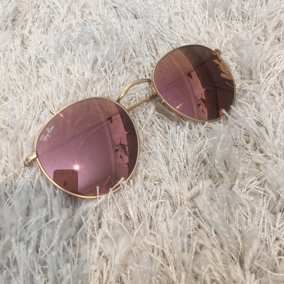 rose gold ray ban round metal sunglasses