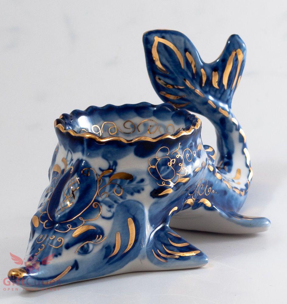 "Gzhel Porcelain Caviar server bowl holder ""Sturgeon"" Acipenser Hand painted gold"