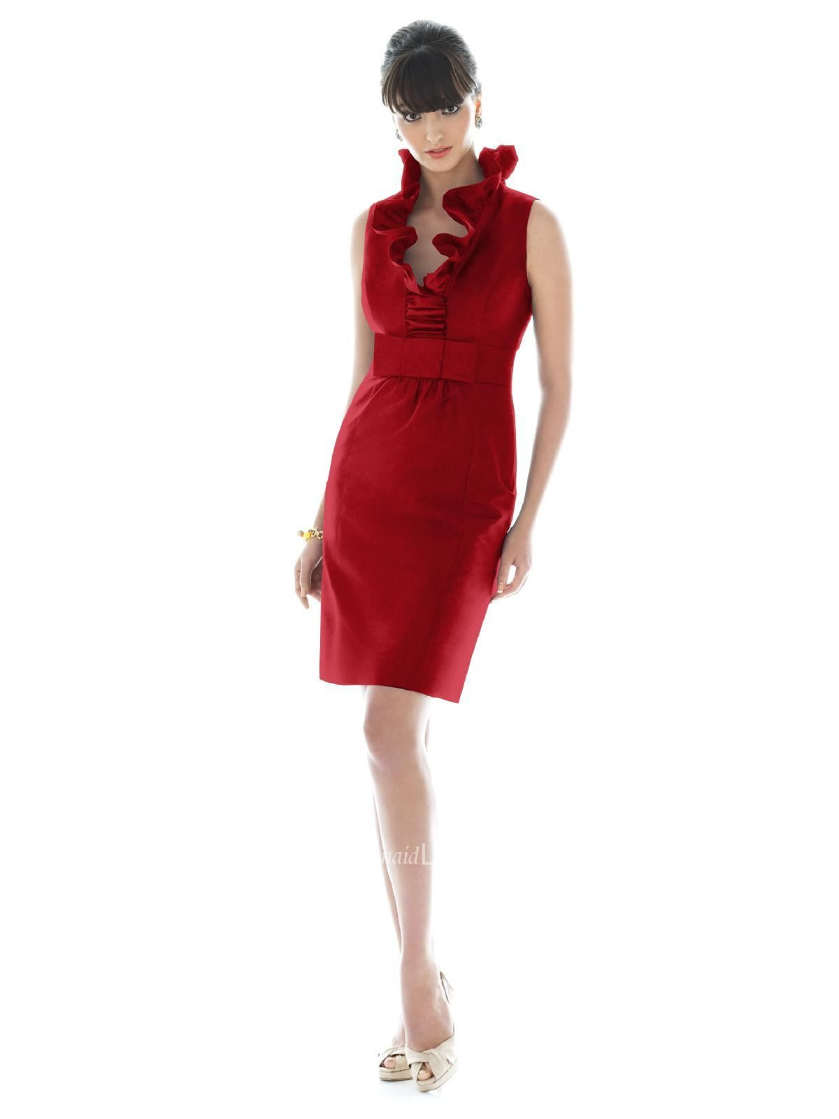 Short red bridesmaid dresses with a ruffle collar sleeveless short red bridesmaid dresses with a ruffle collar sleeveless garnet short satin bridesmaid dress with ombrellifo Gallery