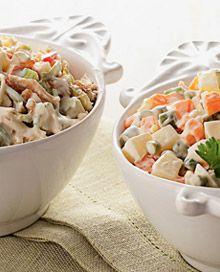 Compare salpicão de frango e maionese de legumes