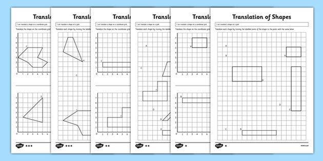 Translating Shapes Ks2 Translation Worksheets Translating Shapes Shapes Worksheets Translations Math Translation worksheets geometry