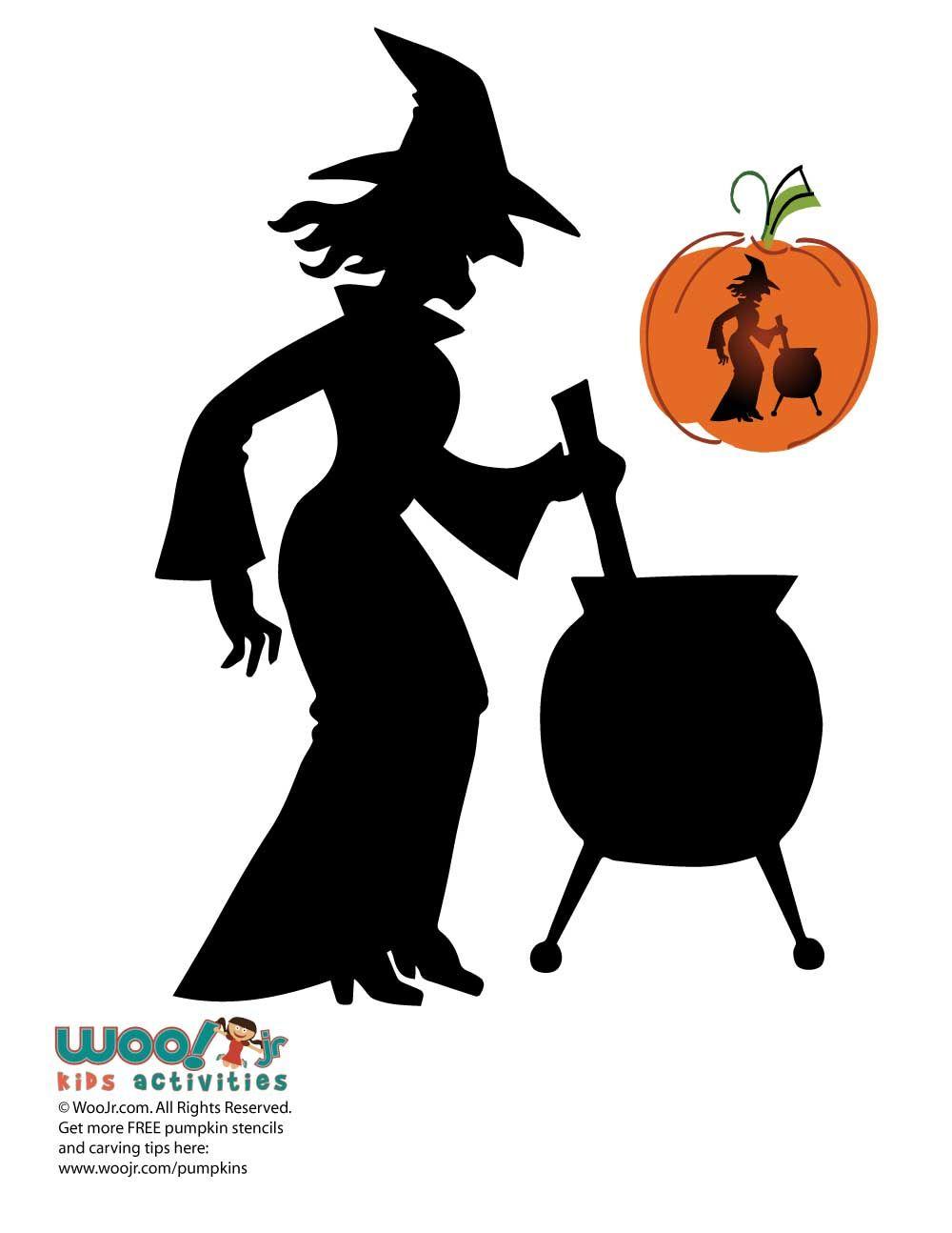 Witch and Cauldron Silhouette Pumpkin   halloween   Pinterest ...