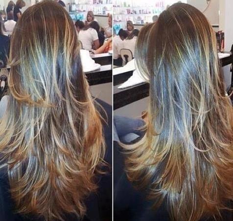 cortes de cabelo degrade femininos 3 camadas em loiras