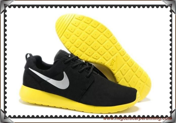 scarpe calcio bambino Uomo-Donna Nike Roshe Run Coal Nero/Grigio lupo/Lemon Giallo 511881-003