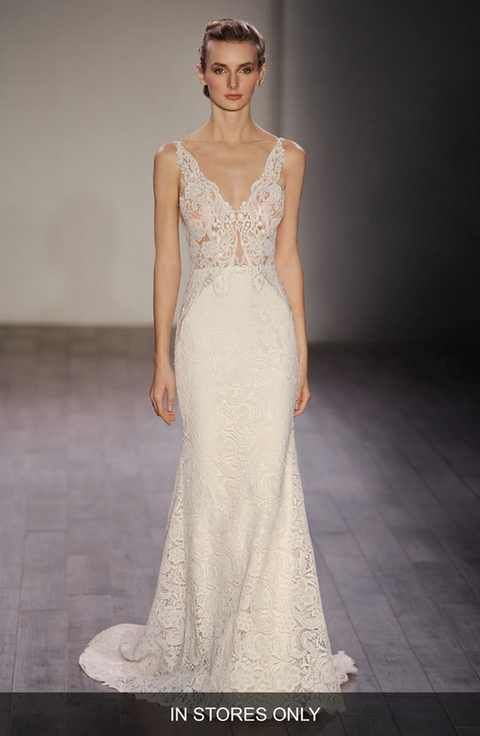Lazaro V-Neck Lace Trumpet Dress