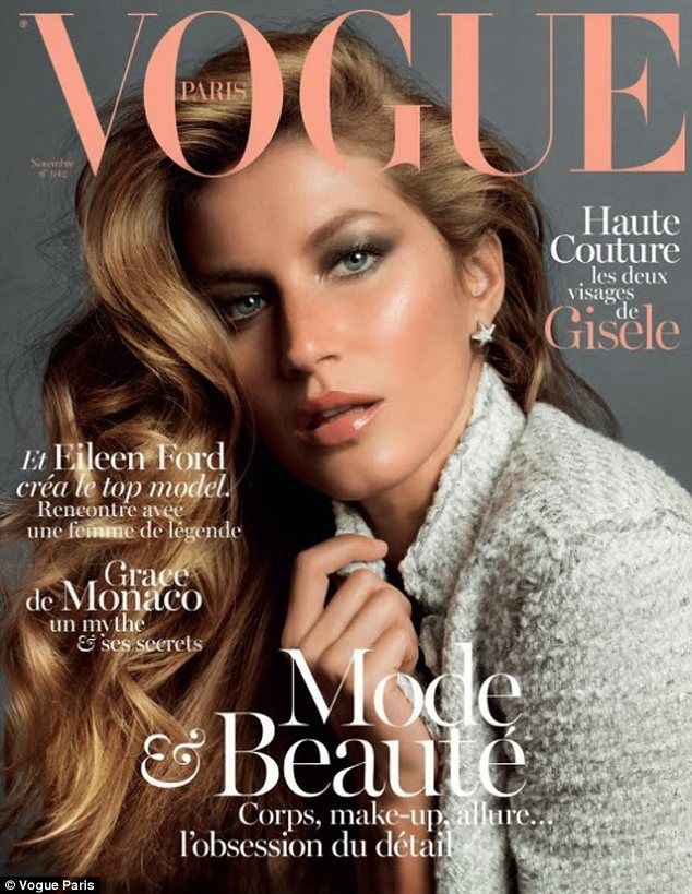 Cover girl: Gisele can be seen smouldering while gracing the cover of Vogue Paris' November 2013 issue
