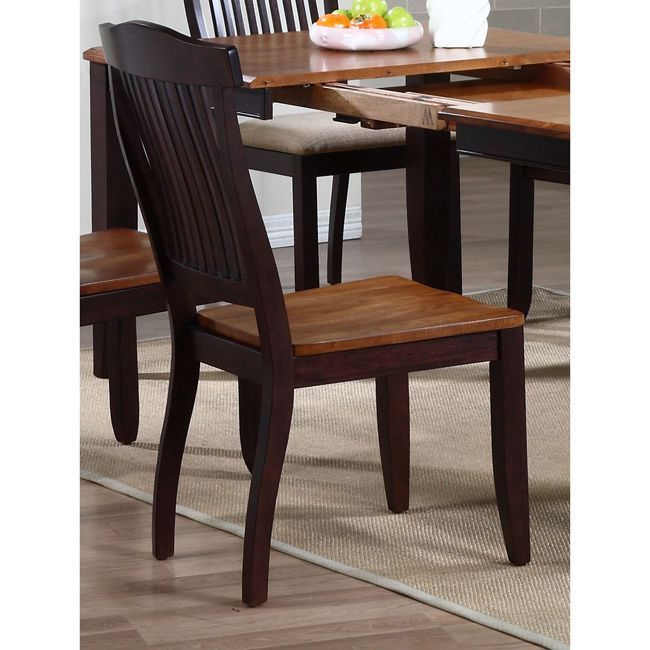 Iconic Furniture Whiskey/ Mocha Open Slat Back Dining Side Chair (Set of 2) (Open slat back dining side chair, whiskey/mocha), Multi (Rubberwood)