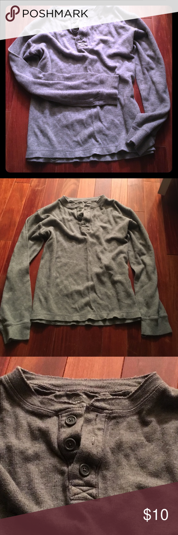 ELNC men's gray GAP LS SZ M 3 button thermal top Beautiful gray thermal from the gap -  men's SZ medium - worn just a couple times this is still is excellent condition.  Please ask any questions - thanks for looking in my closet!! GAP Shirts Tees - Long Sleeve