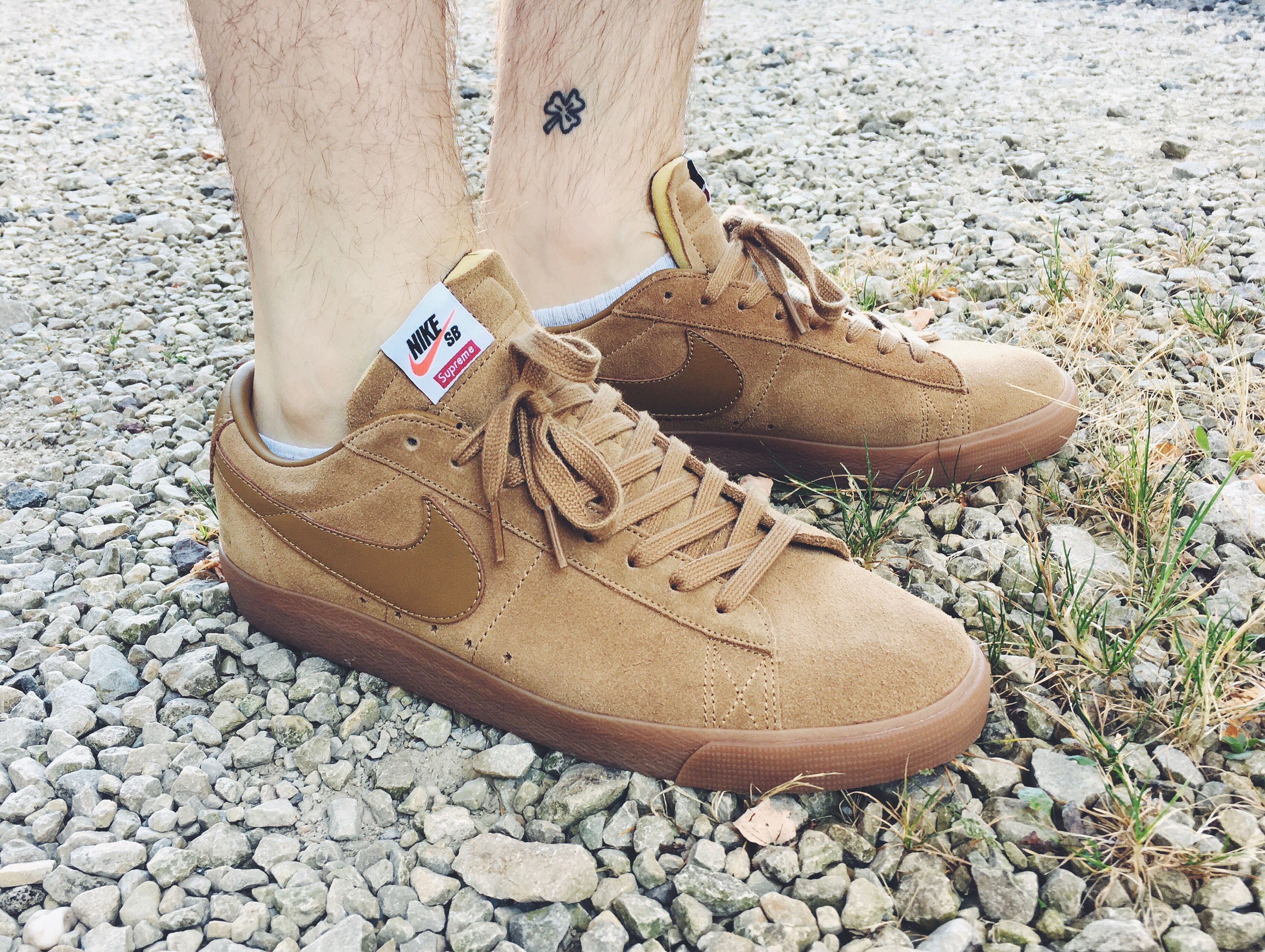 best service 359b3 67263 Supreme x Nike SB Blazer Low GT Tan on feet