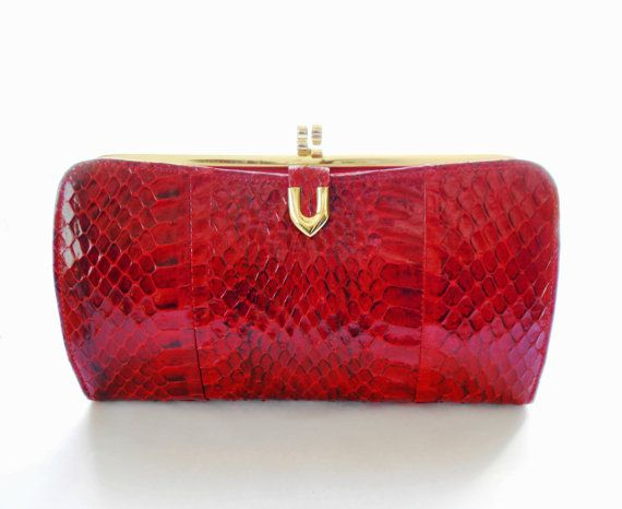 Vintage Fassbender Of London Snakeskin Clutch Snakeskin