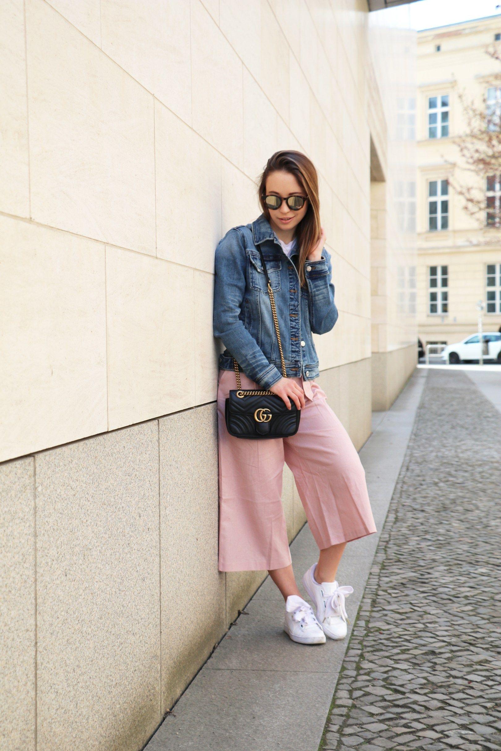 Rosa culotte von asos jeansjacke puma basket heart for Rosa kombinieren