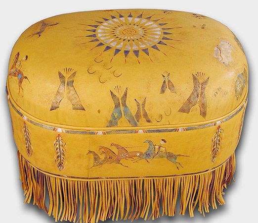 Shoshone Deerskin Ottoman Western Ottomans   Hand Painted Shoshone Village  On 100% Deerskin With Full Fringe.