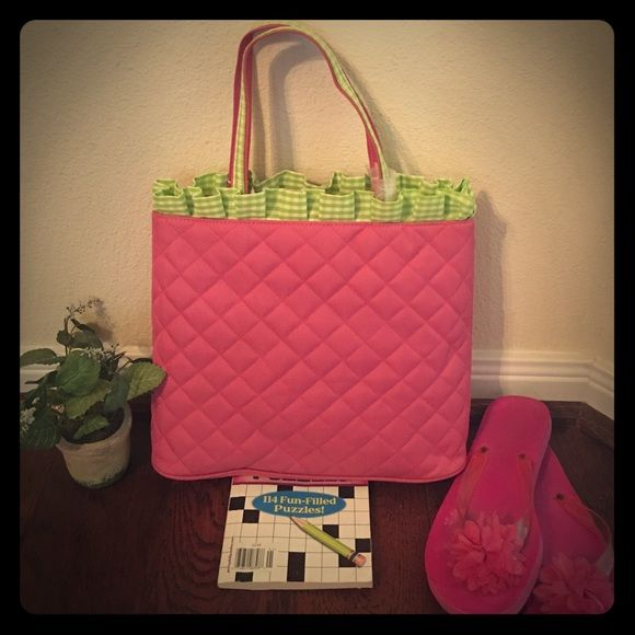 Hot Pink and Lime Green Purse This purse is adorable! It is hot pink with a quilted pattern and has a lime green and white ruffle at the top. The handles are hot pink and have a lime green and white checkered stripe going across them. It has a snap button at the top and two inside pockets. It also comes with the hot pink shoulder strap. It has four metal spikes on the bottom to keep your purse clean and germ free. It still has the original stuffing in it and tags. I received it as a gift and…