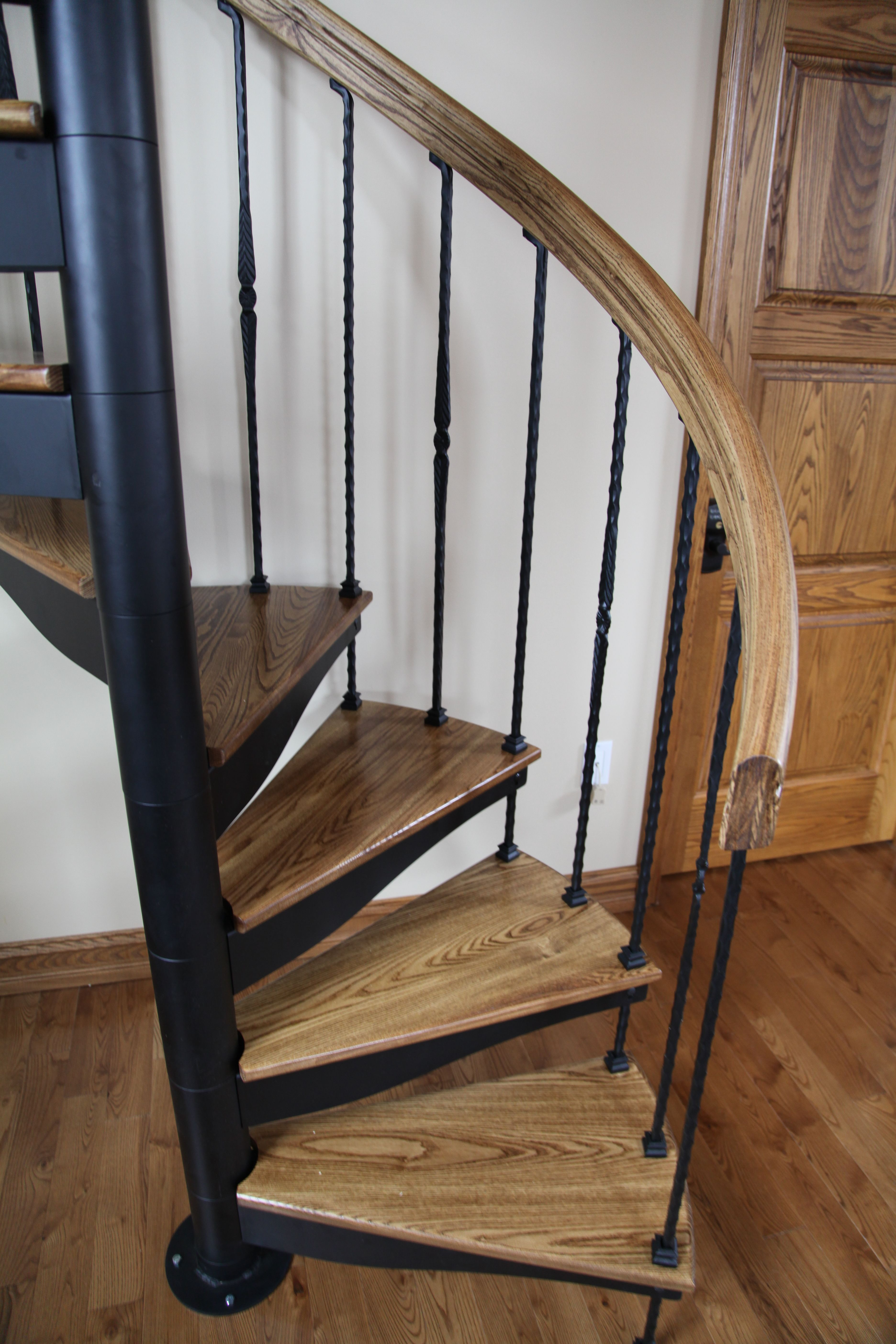Best Forged Iron Spiral Stair With Solid Wood Treads And Handrail 400 x 300