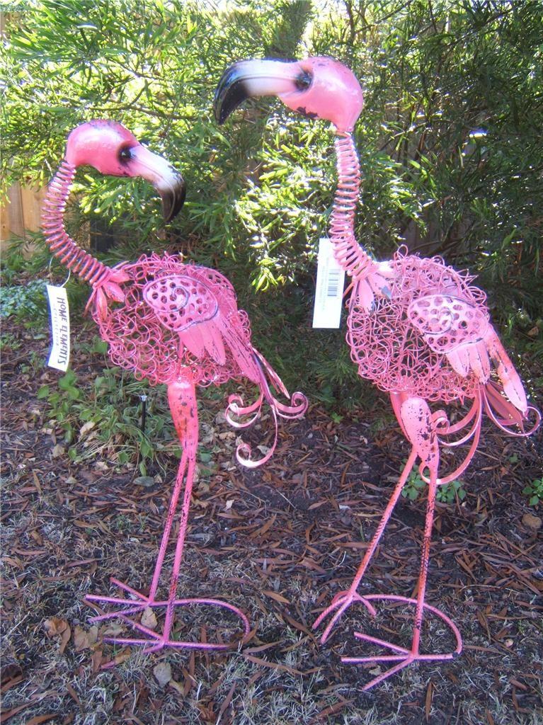 1 X Metal Pink Flamingo Garden Ornament Sculpture Statue Choose Male Or Female