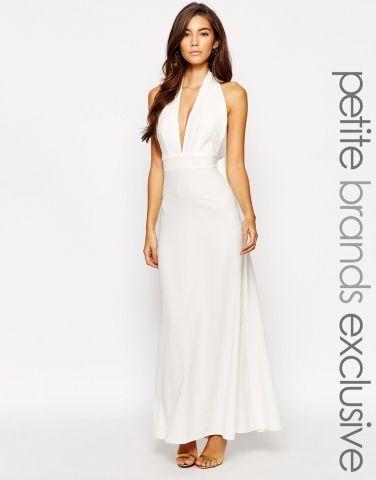 Robe blanche longue maxi dos nu avec noeud Asos petites - ClicknDress