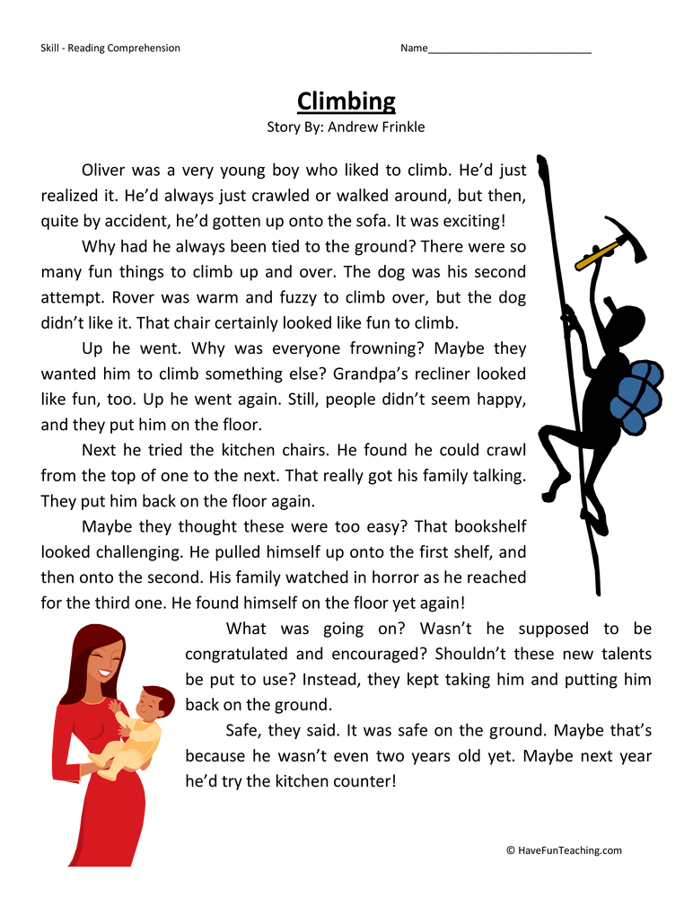 Climbing Reading Comprehension Worksheet Reading
