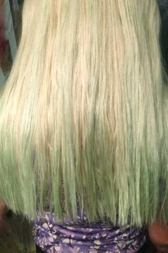 To get green out of blonde hair after swimming mix 12 cup lemon juice  12 cup vinegar
