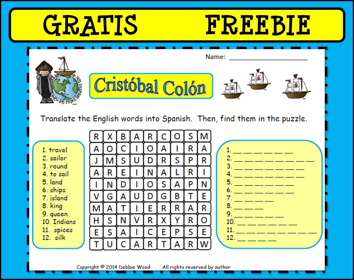 Freebie Cristobal Colon Christopher Columbus Translate