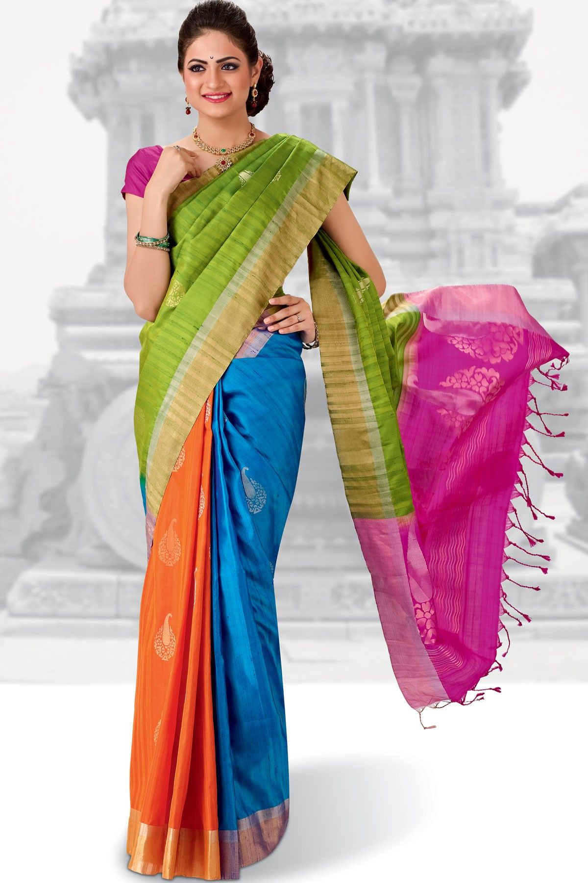 2c835f71bf0290  Gorgeous Blue    Orange combo weaved pure silk  saree in golden saree  border   dark pink plain blouse along with Pink   Parrot  Green combo  weaved pallu to ...