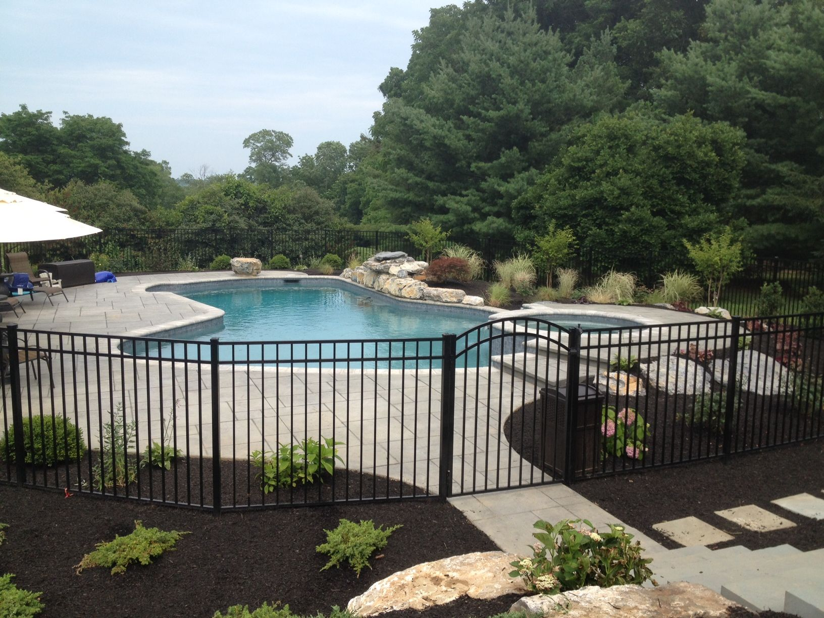Swimming Pool With Hardscape And Landscape Ideas Posted On