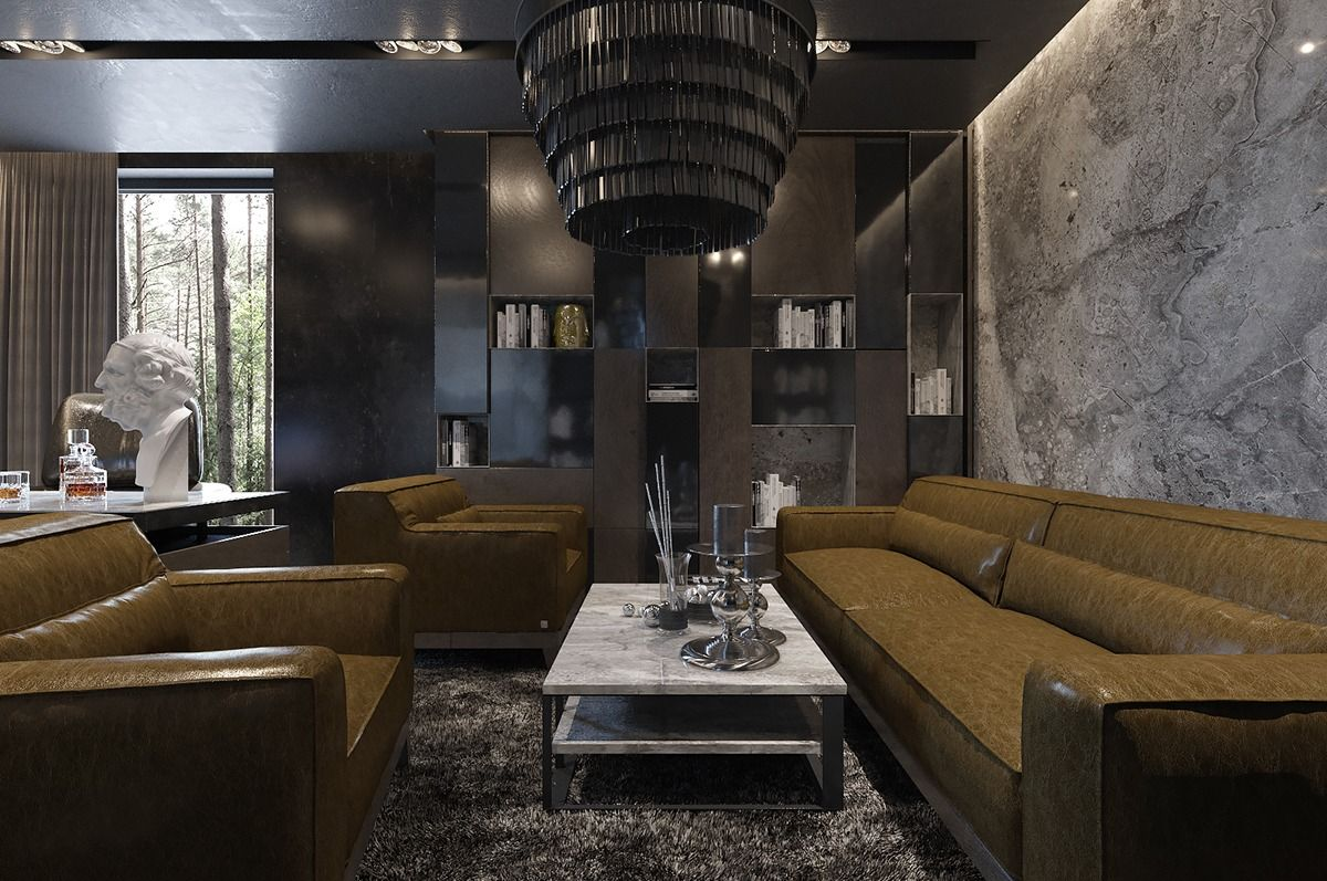 Three Luxurious Apartments With Dark Modern Interiors Pinterest