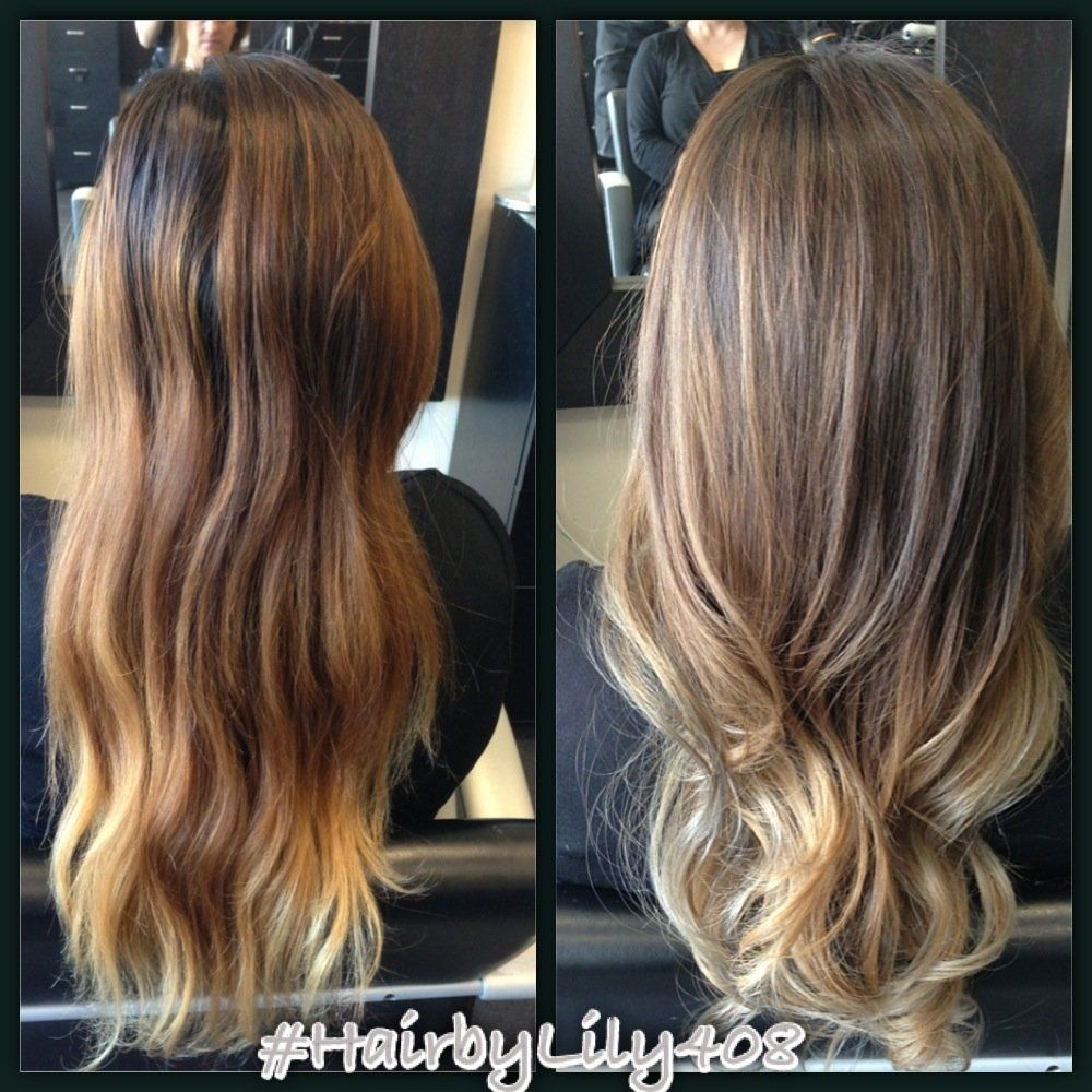 Changed The Brassy Hair To Something More Natural And Ashy Ombre With Balayage Highlights Yelp Hair Brassy Hair Ash Hair Color