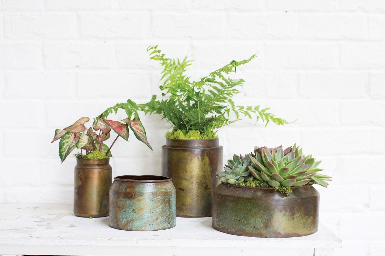 Lush Collection Accent Décor Metal flower pots rustic