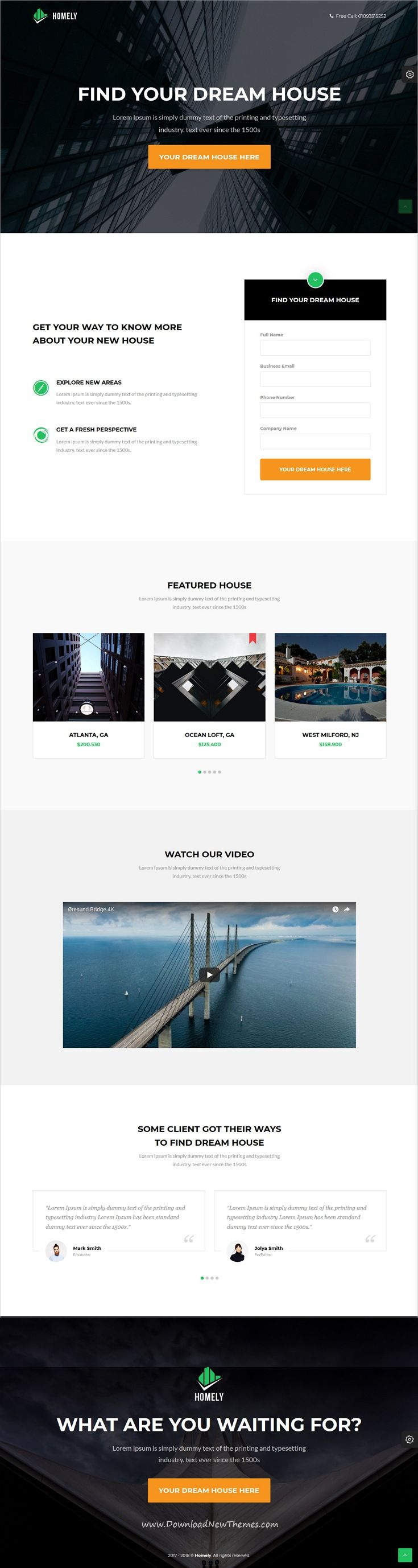 Homely - Real Estate Landing Page | Template, Ui ux and Layout site