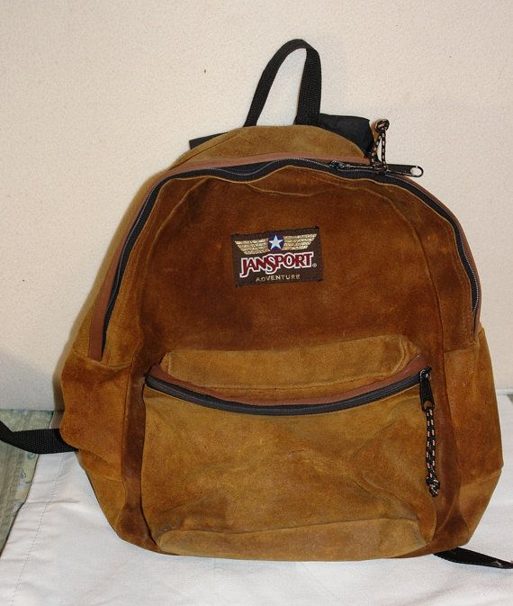 d2d1eb113 Here is a great old Jansport all leather backpack. Very simple, has only  two zippers, no inside pockets. In very good condition for it's age.