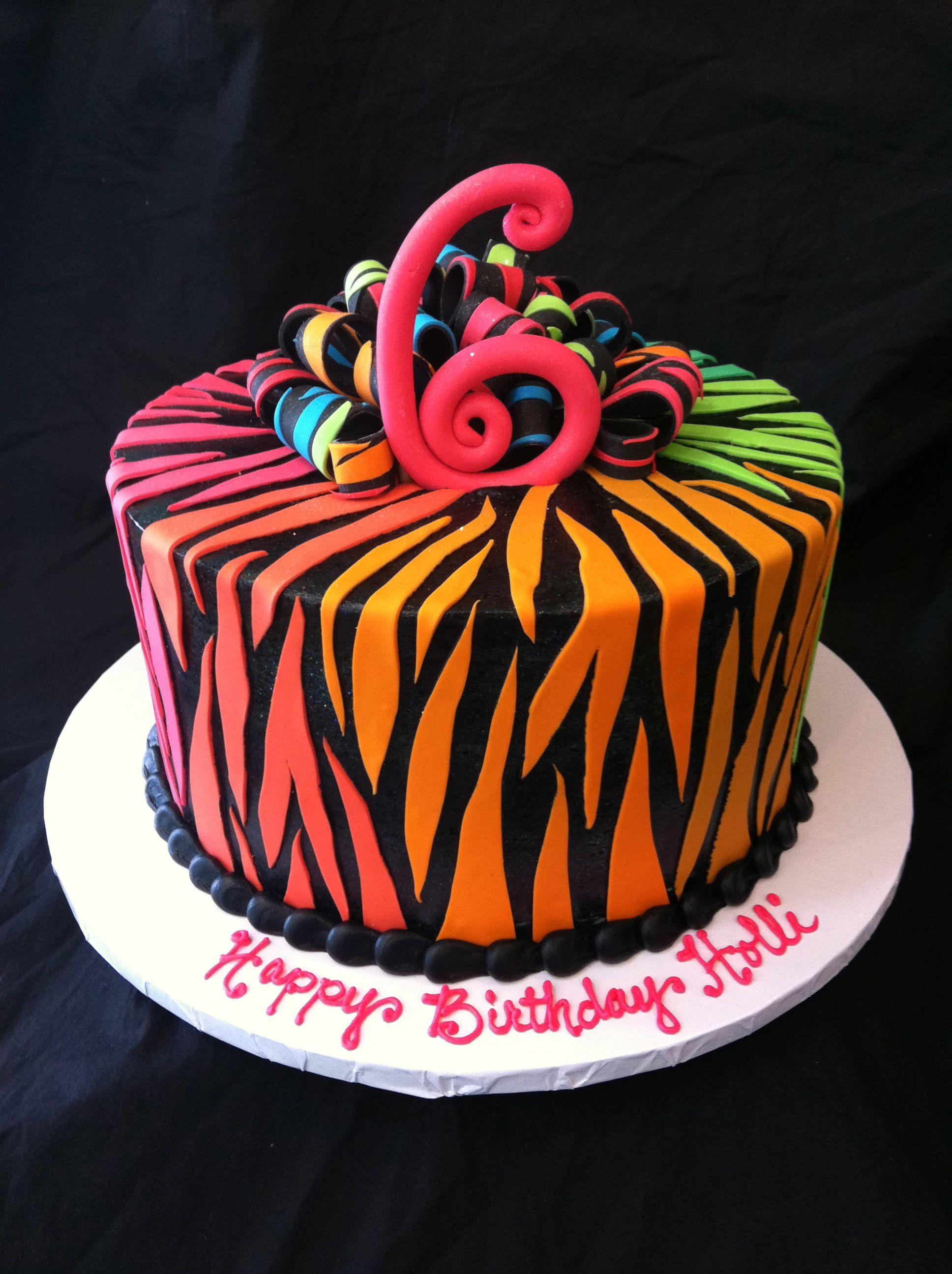 Multicolored zebra print cake Cakes Cakes More Cakes