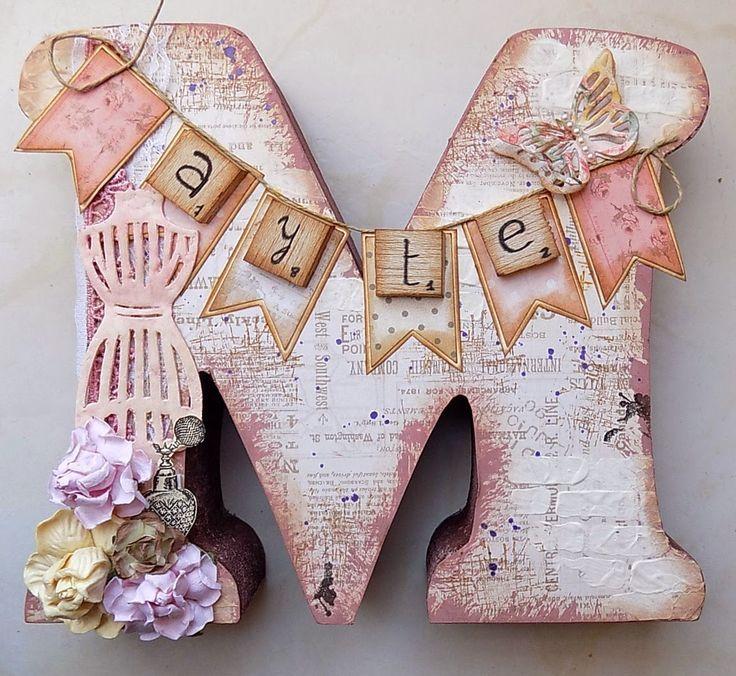 Resultado de imagen para letras pintadas en fibrofacil - Letras de madera decoradas ...