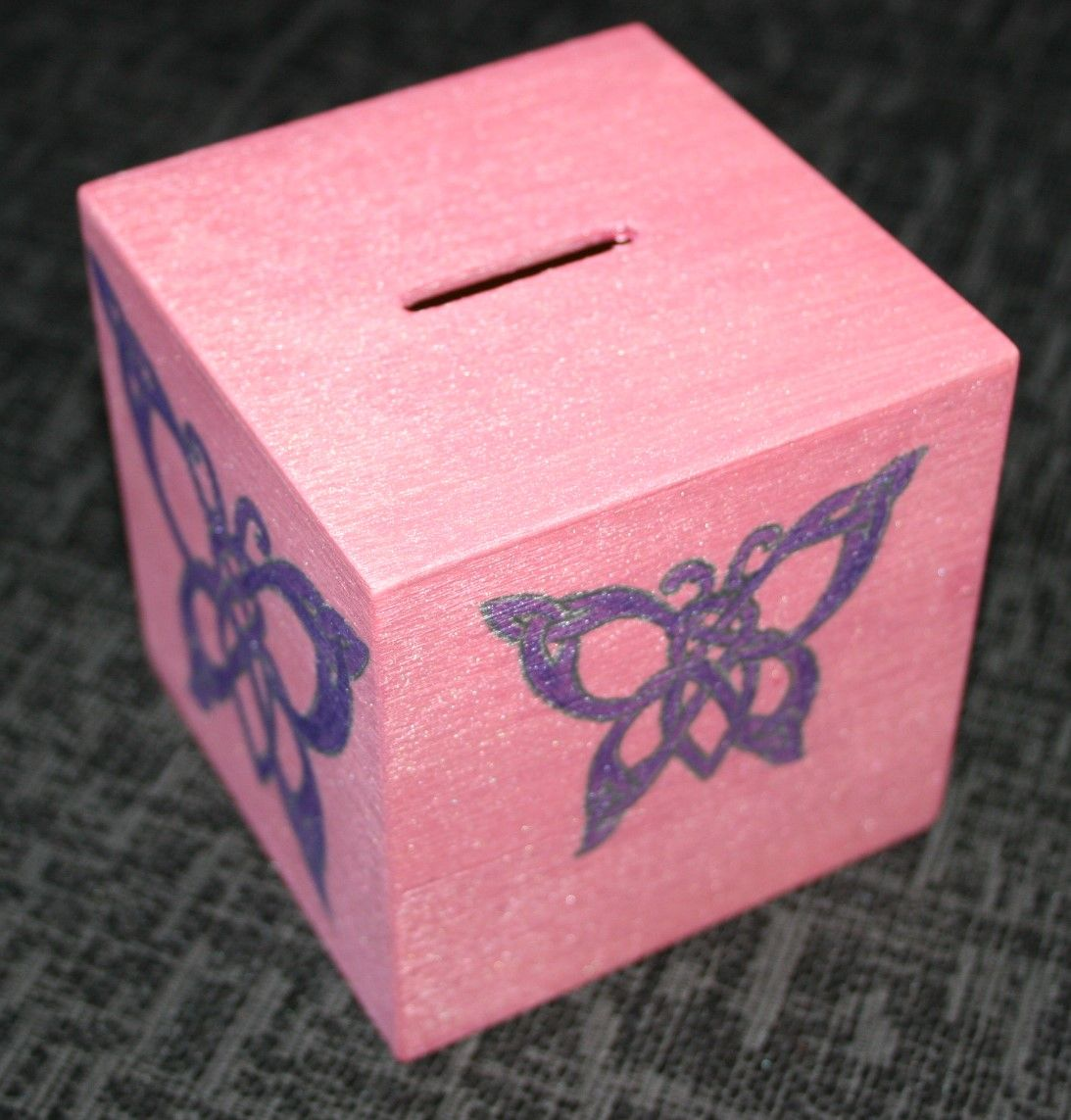 Pink & Purple Butterfly Money Box; Personalised Celtic Butterfly ...