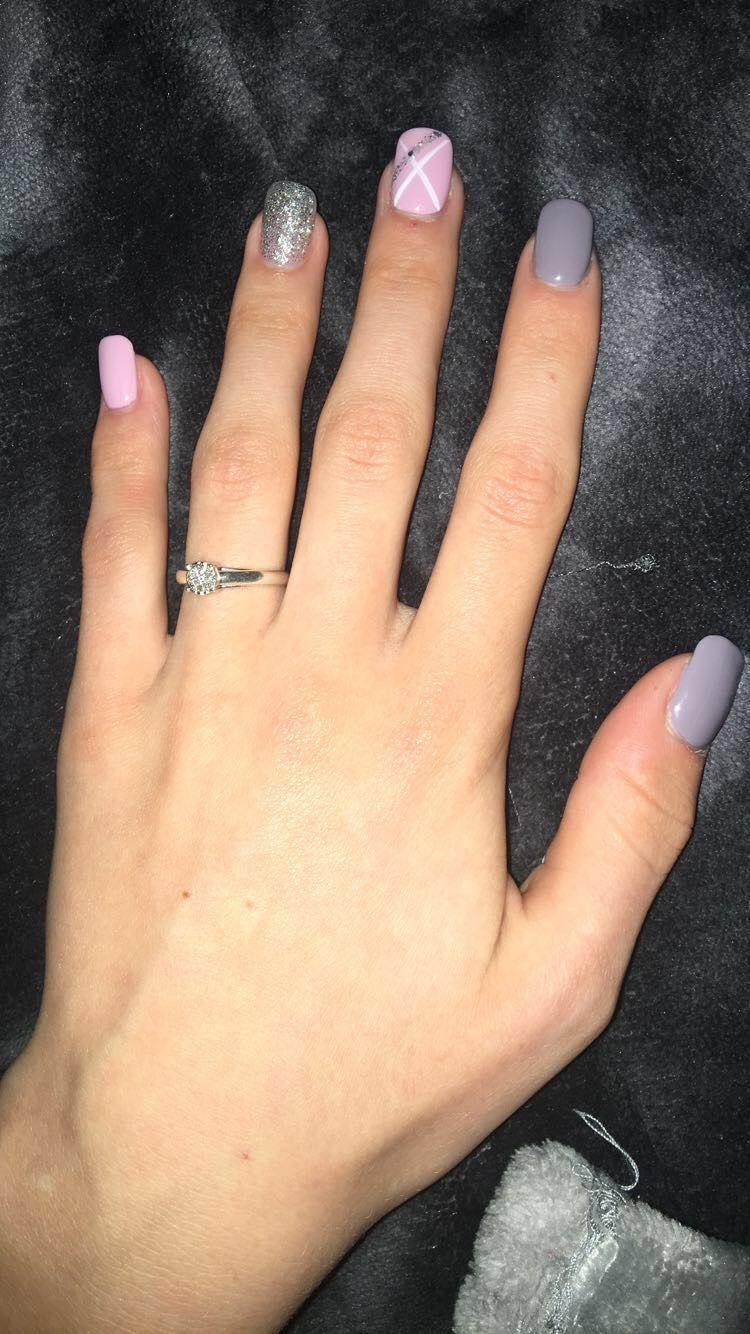 Pink And Grey Nail Design Grey Nail Designs Baby Pink Nails Pink Grey Nails