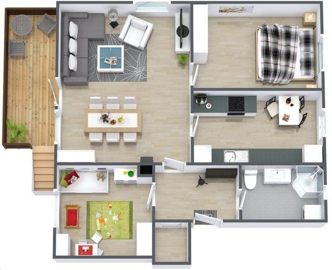 50 Plans 3d D Appartement Avec 2 Chambres House Maison