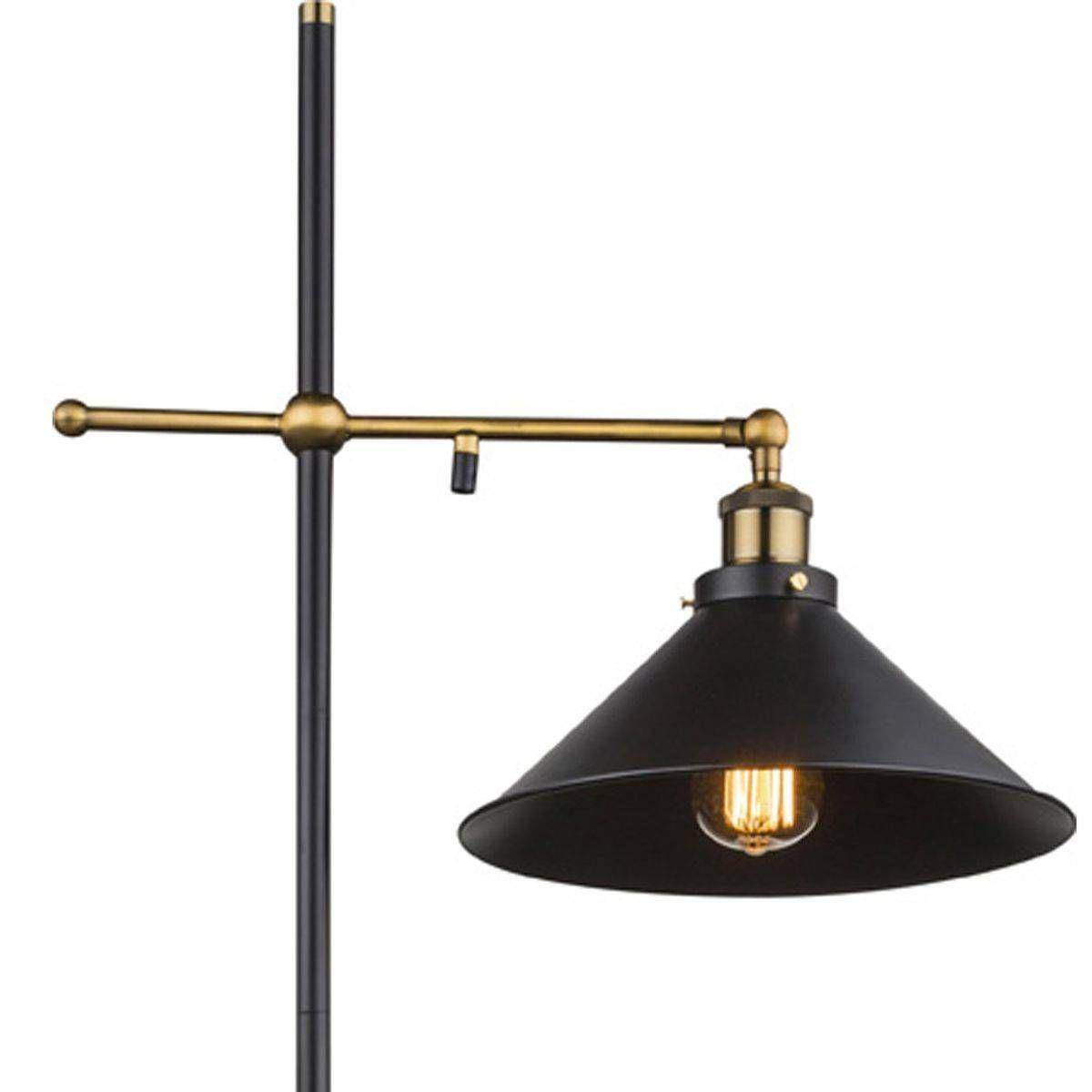 Lampadaire Industriel Lenius Noir Et Dore En Metal Taille Taille Unique Lampadaire Lampe Sur Pied Lampadaires Industriels