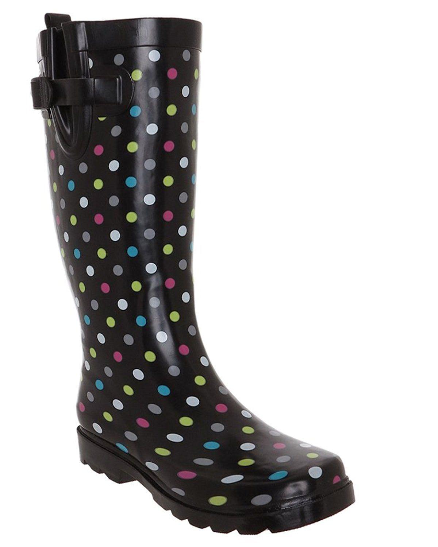 Simple Multi Dots Printed Ladies Tall Rubber Rain Boot
