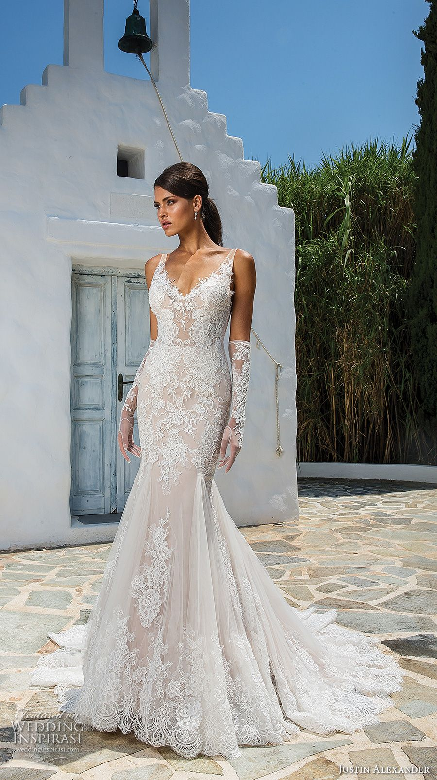 Lace wedding dress with back out january 2019 Justin Alexander  Wedding Dresses  Wedding Dresses  Pinterest