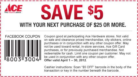 5 Off 25 This Month At Ace Hardware Printable Coupons Free Printable Coupons Ace Hardware Store