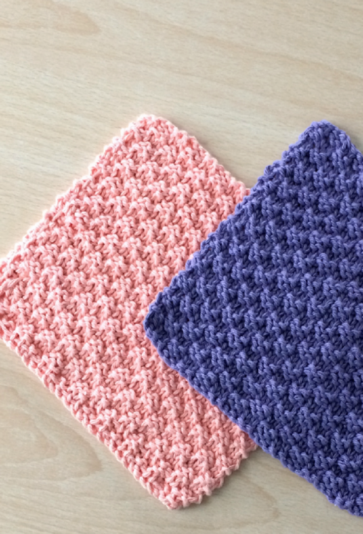 Cute And Easy Textured Knit Dishcloths Pattern | Knitted dishcloth ...