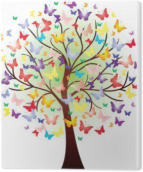 Vector beautiful spring tree, consisting of butterflies PVC Print