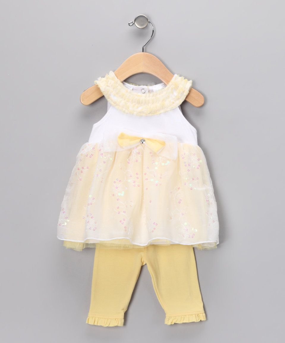 This Yellow Sequin Dress & Ruffle Leggings - Infant by Baby Grand Signature is perfect! #zulilyfinds