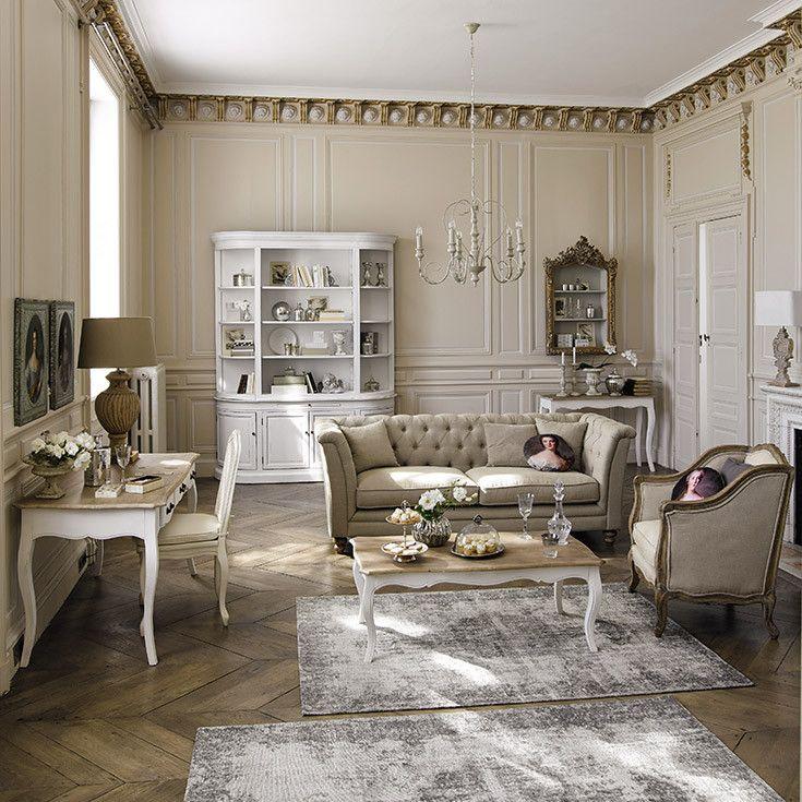 Salon beige classique moulure maisons du monde for Decoration maison classique
