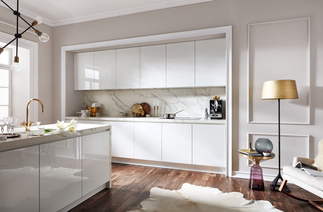 küchenzeile systema2030 einbauküche grifflos weiß hochglanz lack ...