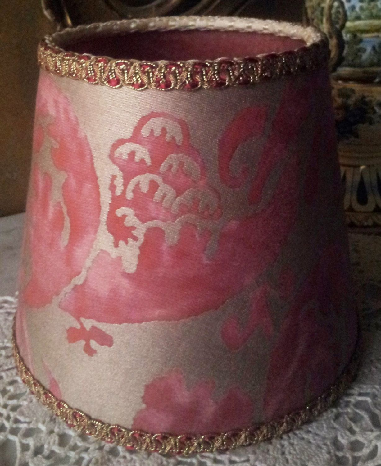 Clip On Lamp Shade Fortuny Fabric Red