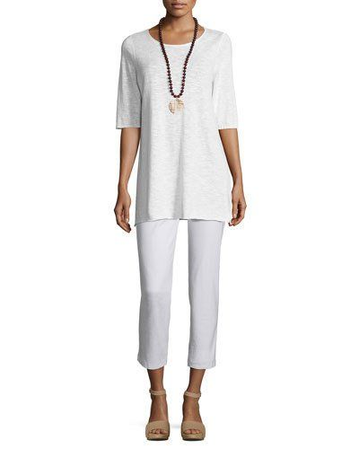 -71RW Eileen Fisher Half-Sleeve Linen-Blend Tunic Washable Stretch-Crepe Ankle Pants