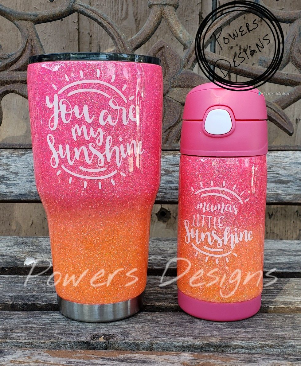 Custom glitter tumblers and sippy cups - Mommy and me - you