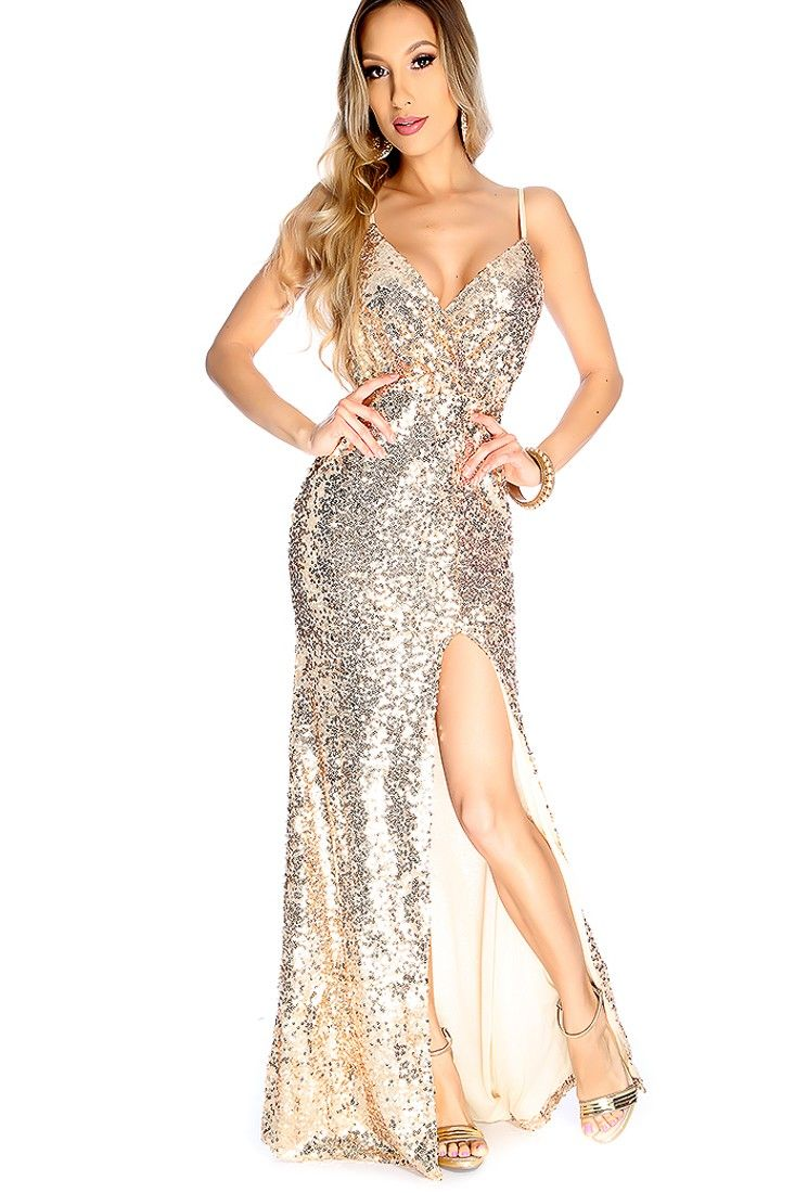 1777804d8cbe6 Walk out with confidence in this sexy sequins dress it features; sequins  detailing, V-neck, spaghetti straps, side slit, and fitted.